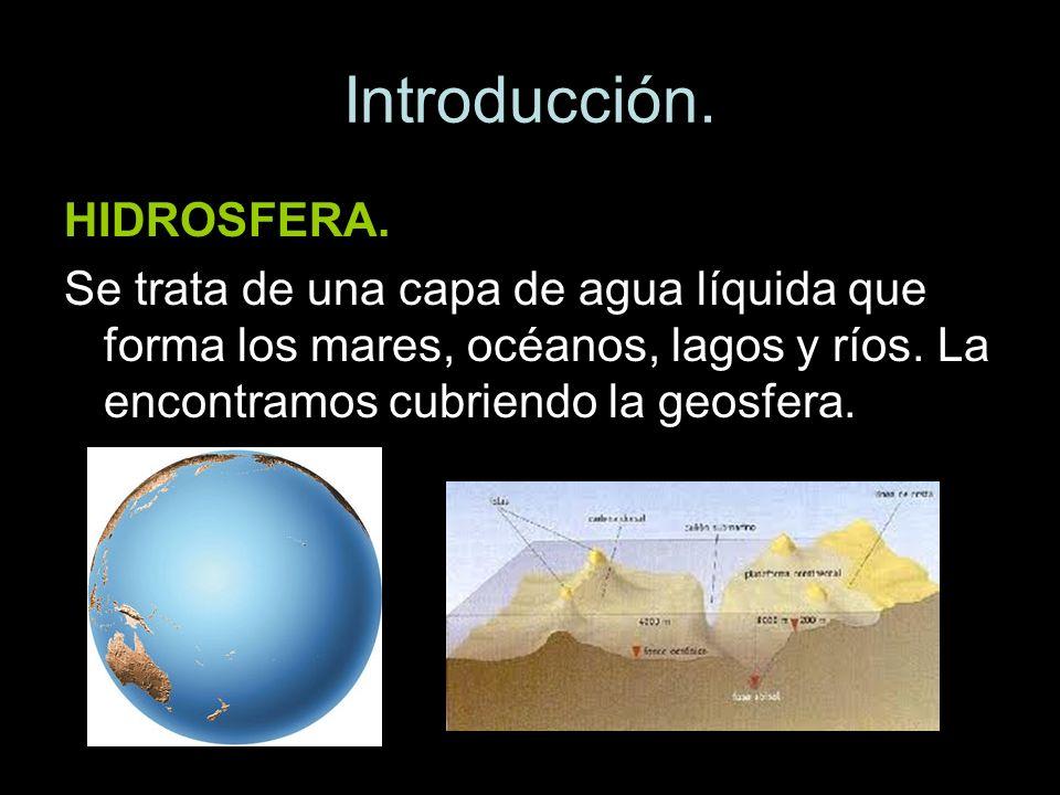 Introducción. HIDROSFERA. Se trata de una capa de agua líquida que forma los mares, océanos, lagos y ríos. La encontramos cubriendo la geosfera.