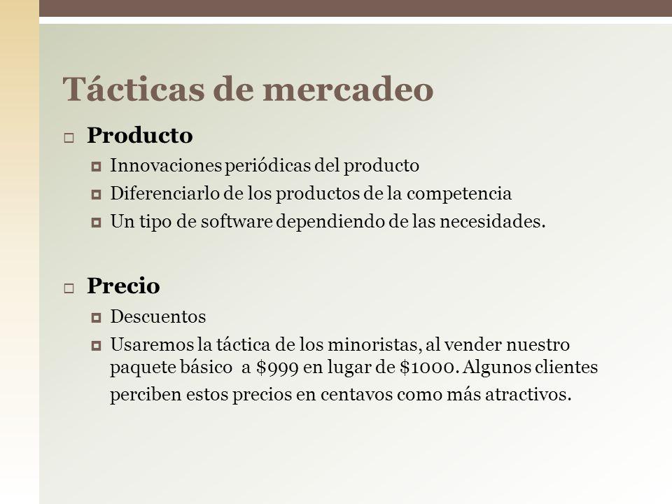 Producto Innovaciones periódicas del producto Diferenciarlo de los productos de la competencia Un tipo de software dependiendo de las necesidades. Pre