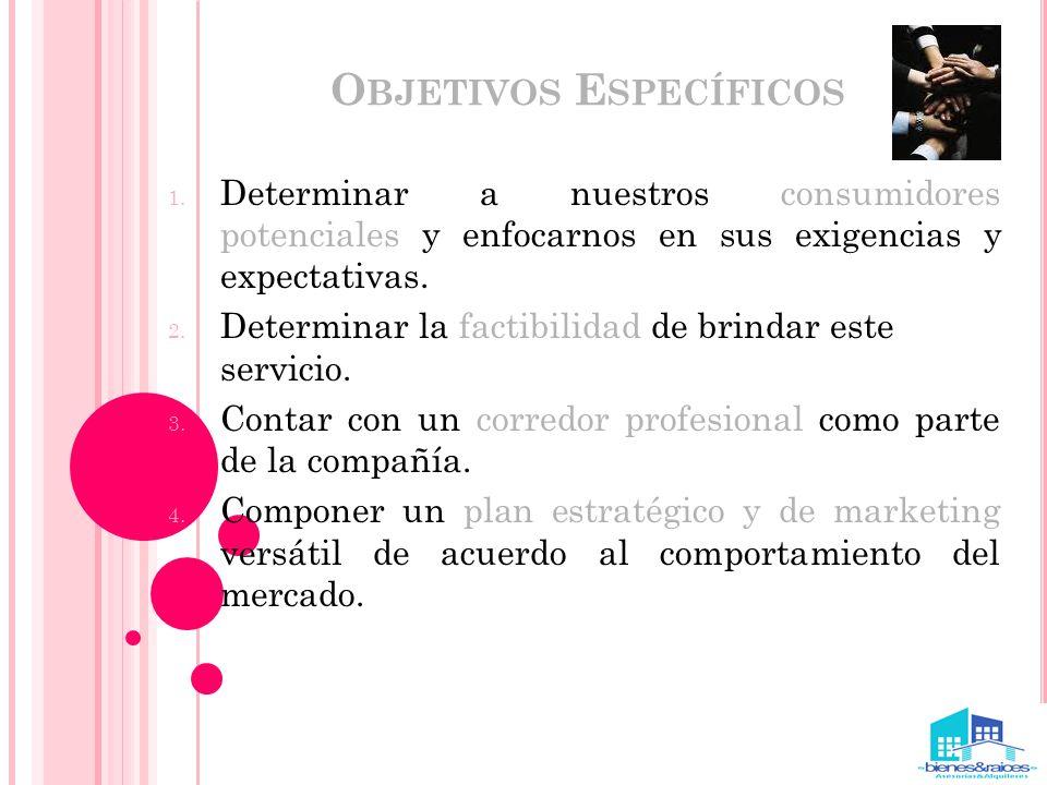 O BJETIVOS E SPECÍFICOS 1. Determinar a nuestros consumidores potenciales y enfocarnos en sus exigencias y expectativas. 2. Determinar la factibilidad