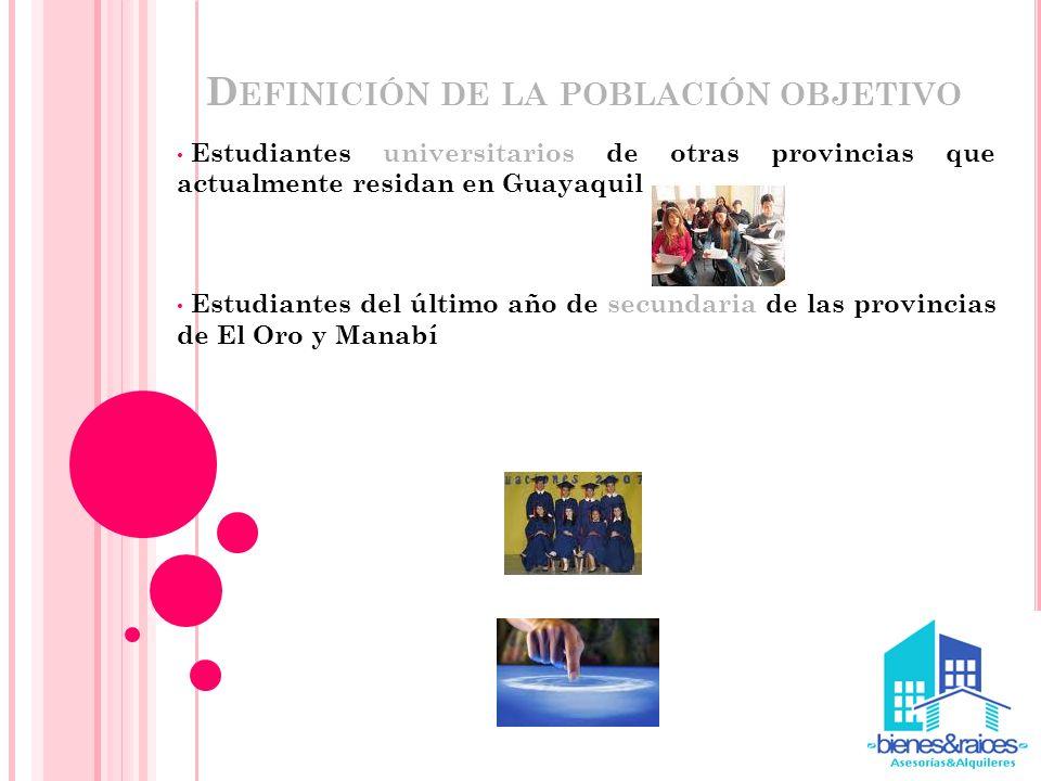D EFINICIÓN DE LA POBLACIÓN OBJETIVO Estudiantes universitarios de otras provincias que actualmente residan en Guayaquil Estudiantes del último año de