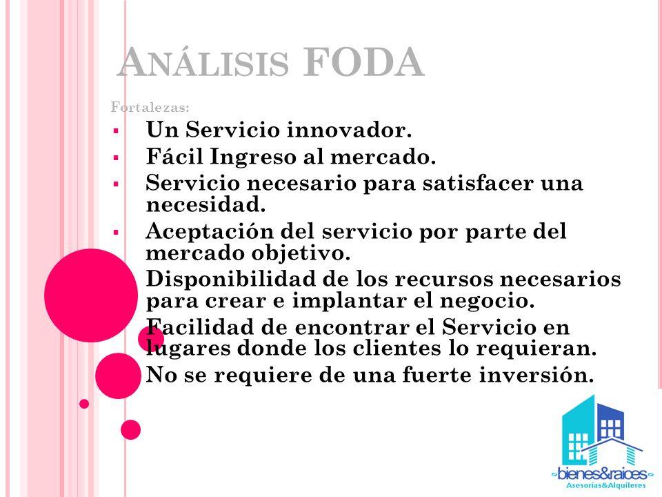 A NÁLISIS FODA Fortalezas: Un Servicio innovador. Fácil Ingreso al mercado. Servicio necesario para satisfacer una necesidad. Aceptación del servicio