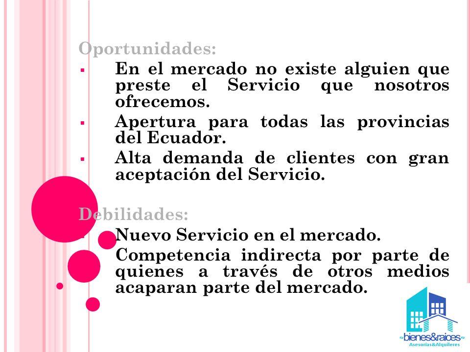 Oportunidades: En el mercado no existe alguien que preste el Servicio que nosotros ofrecemos. Apertura para todas las provincias del Ecuador. Alta dem