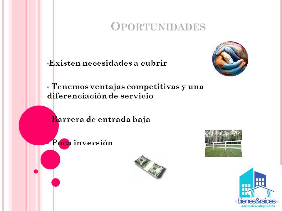 O PORTUNIDADES Existen necesidades a cubrir Tenemos ventajas competitivas y una diferenciación de servicio Barrera de entrada baja Poca inversión