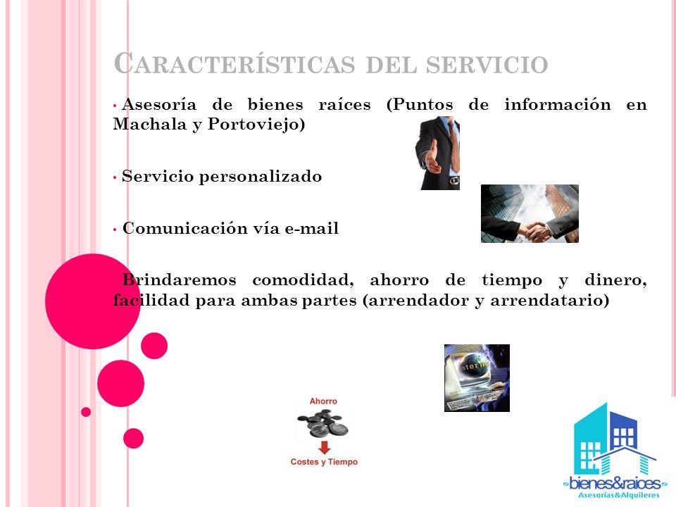 C ARACTERÍSTICAS DEL SERVICIO Asesoría de bienes raíces (Puntos de información en Machala y Portoviejo) Servicio personalizado Comunicación vía e-mail