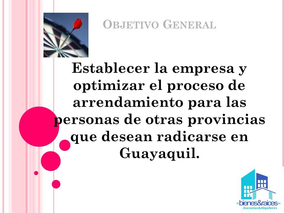 O BJETIVO G ENERAL Establecer la empresa y optimizar el proceso de arrendamiento para las personas de otras provincias que desean radicarse en Guayaqu