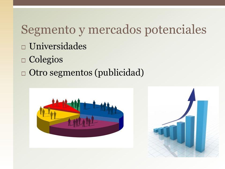 Universidades Colegios Otro segmentos (publicidad) Segmento y mercados potenciales