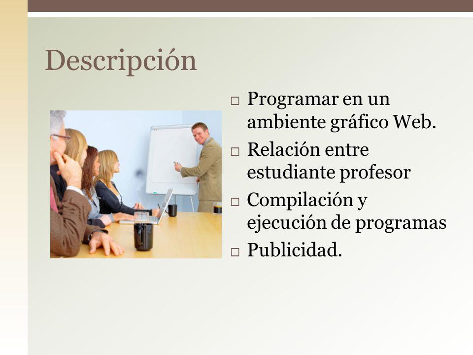 Programar en un ambiente gráfico Web. Relación entre estudiante profesor Compilación y ejecución de programas Publicidad. Descripción