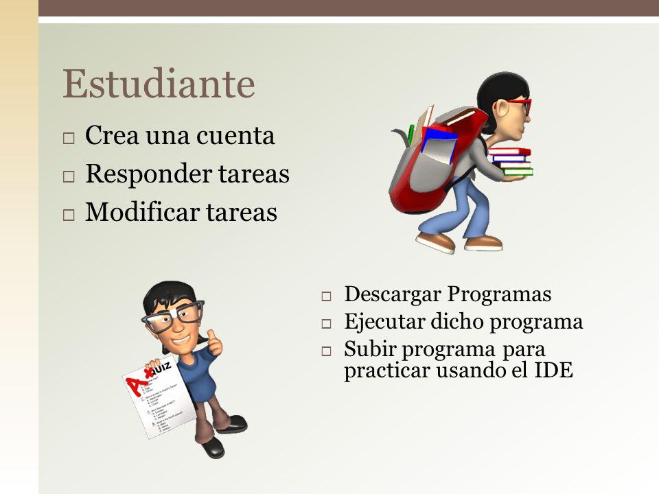 Crea una cuenta Responder tareas Modificar tareas Estudiante Descargar Programas Ejecutar dicho programa Subir programa para practicar usando el IDE