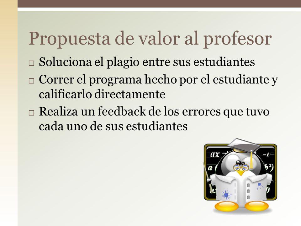Soluciona el plagio entre sus estudiantes Correr el programa hecho por el estudiante y calificarlo directamente Realiza un feedback de los errores que