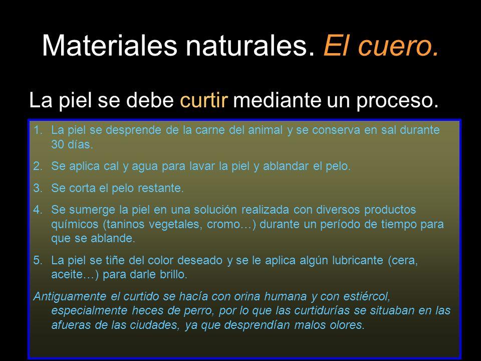 Materiales naturales. El cuero. La piel se debe curtir mediante un proceso. 1.La piel se desprende de la carne del animal y se conserva en sal durante