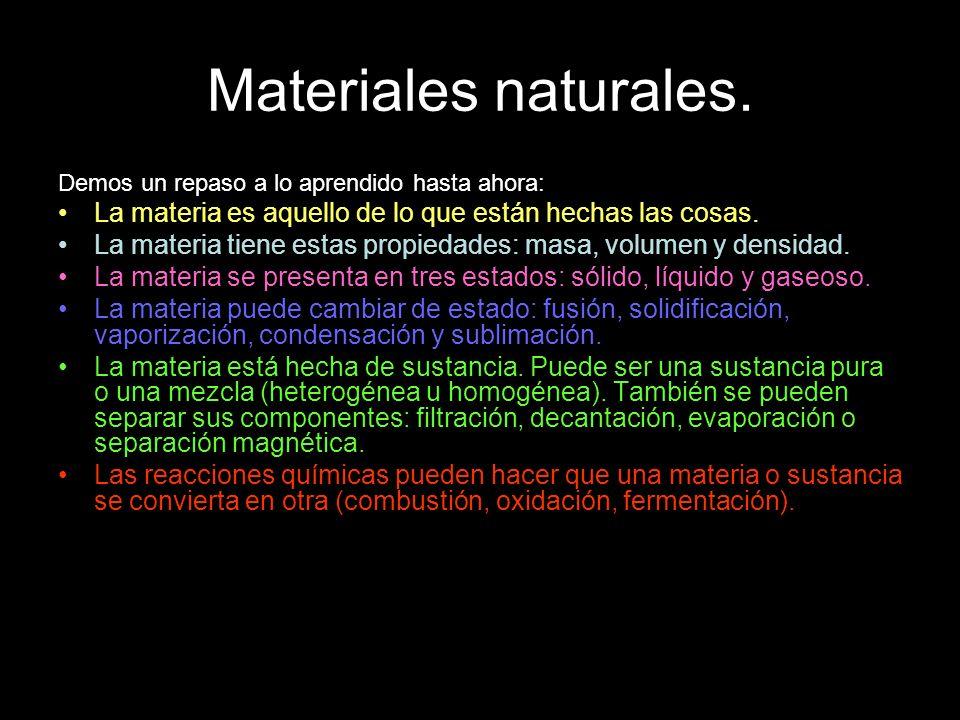 Demos un repaso a lo aprendido hasta ahora: La materia es aquello de lo que están hechas las cosas. La materia tiene estas propiedades: masa, volumen