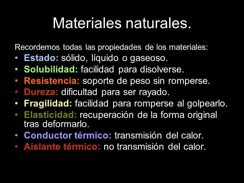Materiales naturales. Recordemos todas las propiedades de los materiales: Estado: sólido, líquido o gaseoso. Solubilidad: facilidad para disolverse. R