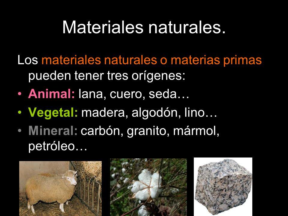 Materiales naturales. Los materiales naturales o materias primas pueden tener tres orígenes: Animal: lana, cuero, seda… Vegetal: madera, algodón, lino