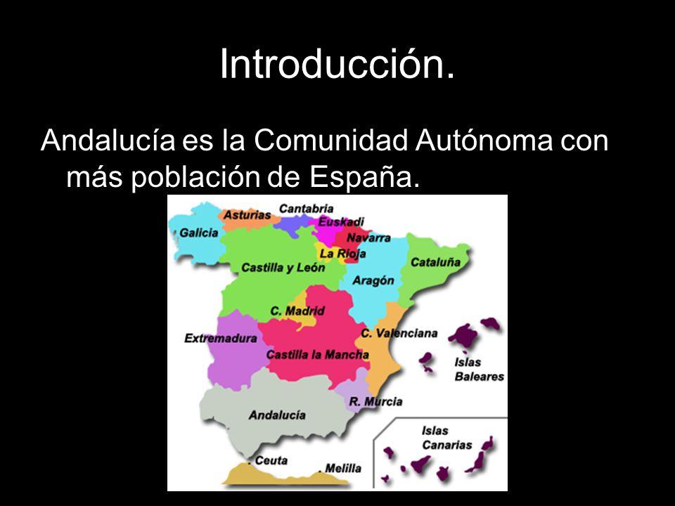Introducción. Andalucía es la Comunidad Autónoma con más población de España.