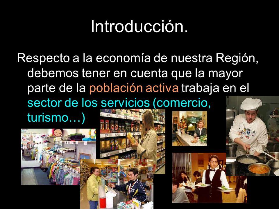 Introducción. Respecto a la economía de nuestra Región, debemos tener en cuenta que la mayor parte de la población activa trabaja en el sector de los