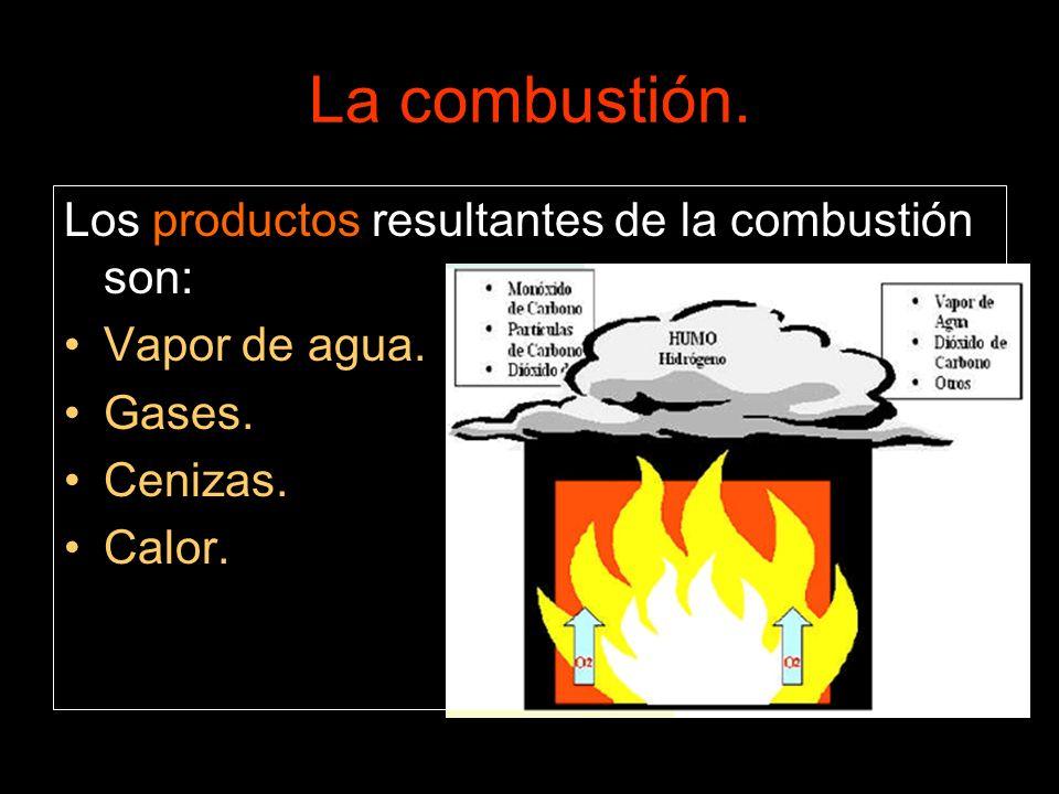 Los productos resultantes de la combustión son: Vapor de agua. Gases. Cenizas. Calor.