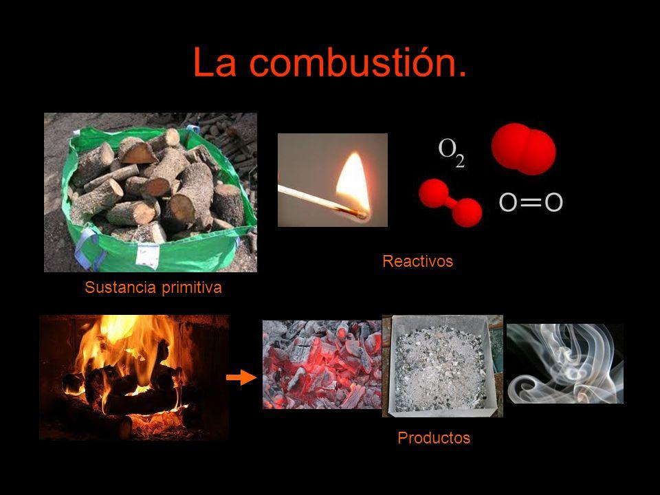 La combustión. Sustancia primitiva Reactivos Productos
