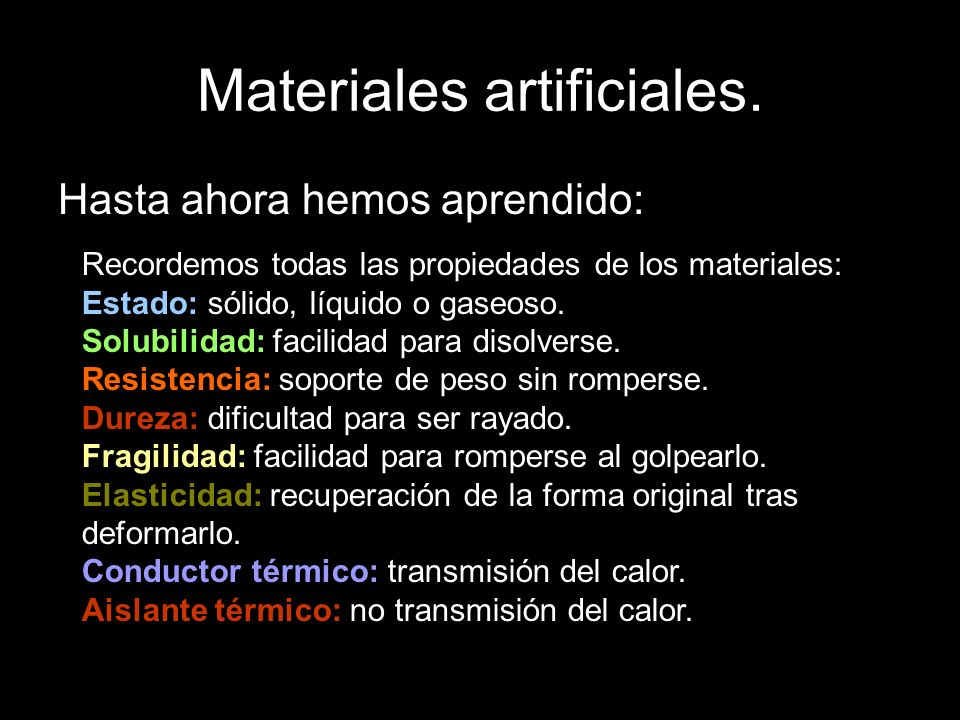 Materiales artificiales.Tejidos artificiales.