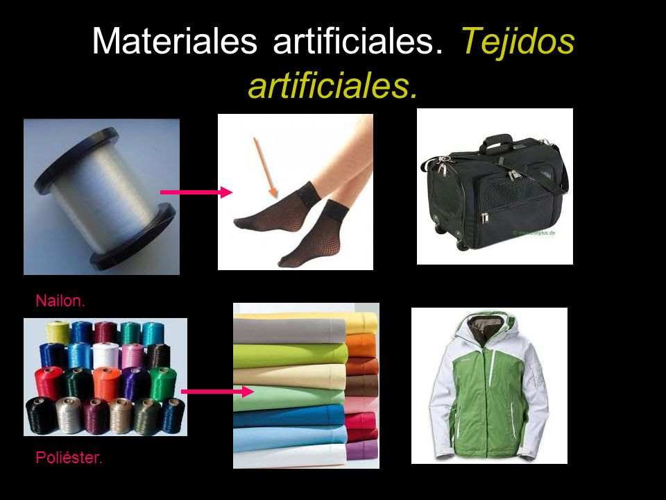 Materiales artificiales. Tejidos artificiales. Nailon. Poliéster.