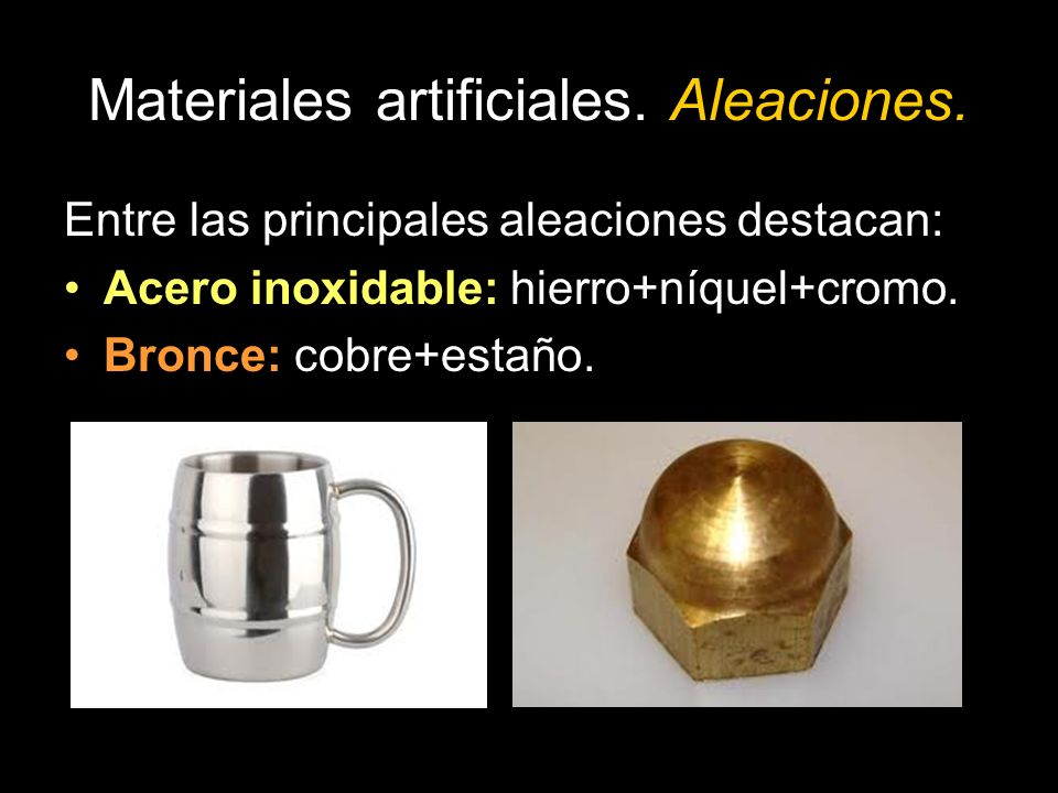 Materiales artificiales.Aleaciones.