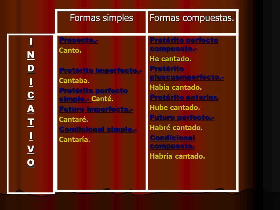 Formas simples Formas compuestas. Presente.- Canto. Pretérito imperfecto.- Cantaba. Pretérito perfecto simple.- Pretérito perfecto simple.- Canté. Fut