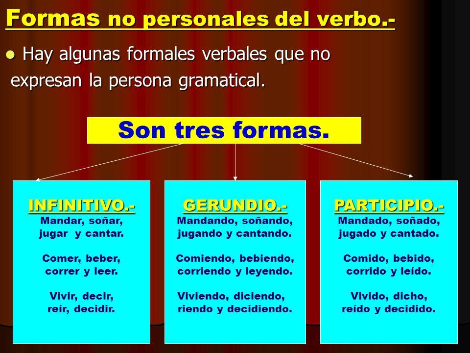 Formas no personales del verbo.- Hay algunas formales verbales que no Hay algunas formales verbales que no expresan la persona gramatical. expresan la