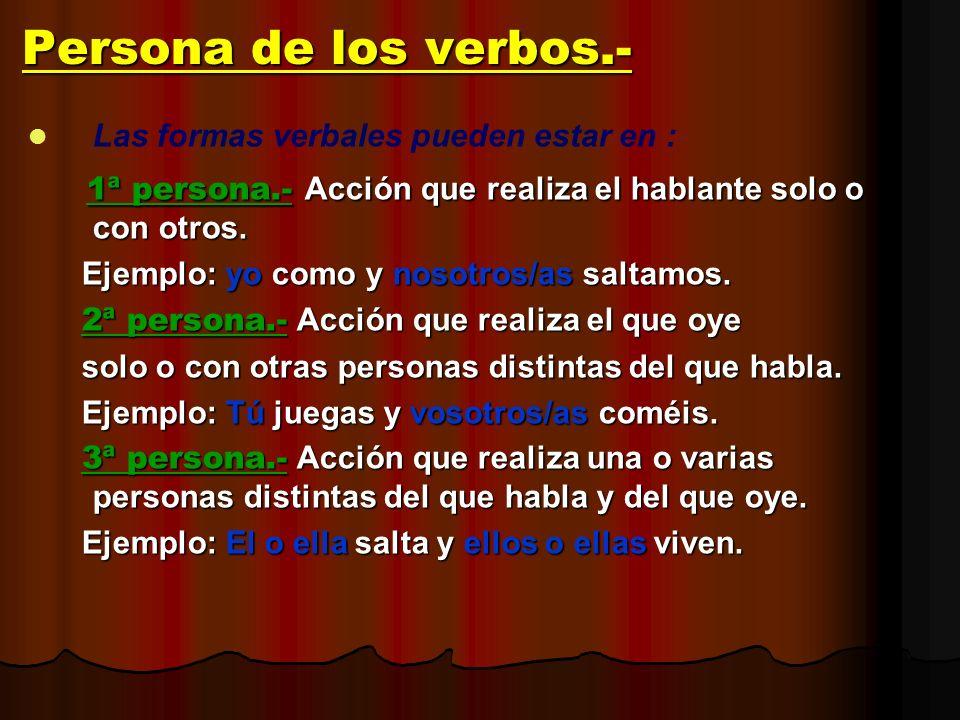 Persona de los verbos.- Las formas verbales pueden estar en : 1ª persona.- Acción que realiza el hablante solo o con otros. 1ª persona.- Acción que re