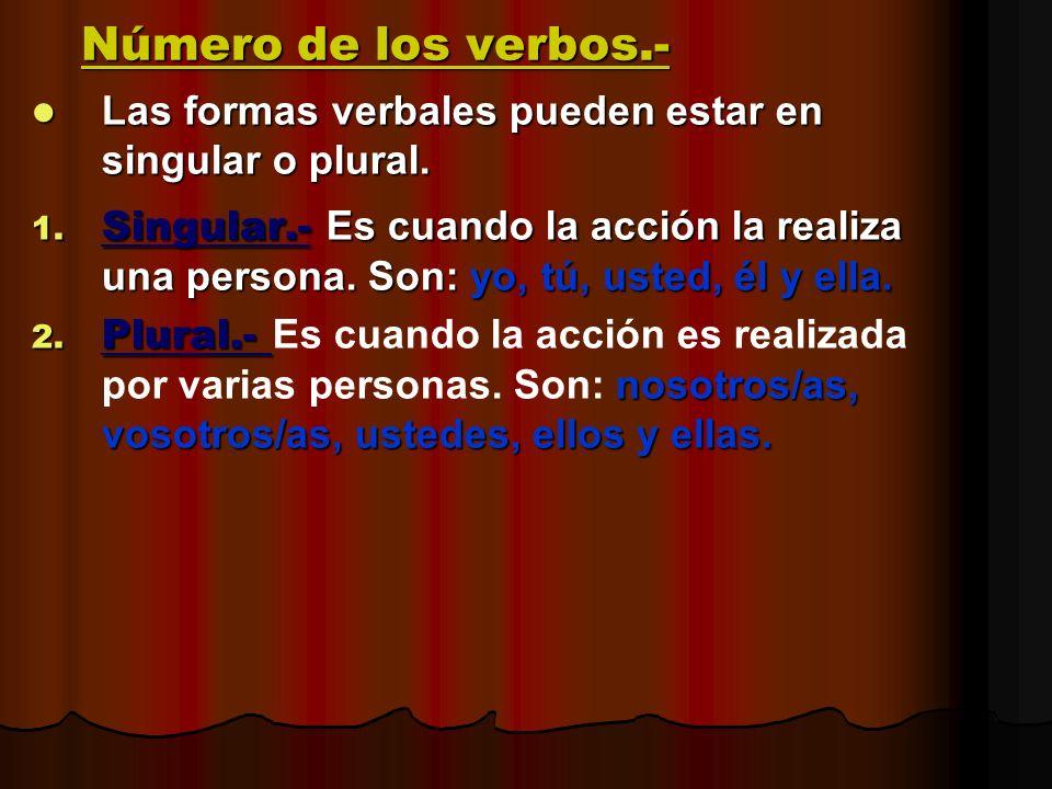 Número de los verbos.- Las formas verbales pueden estar en singular o plural. Las formas verbales pueden estar en singular o plural. 1. Singular.- Es