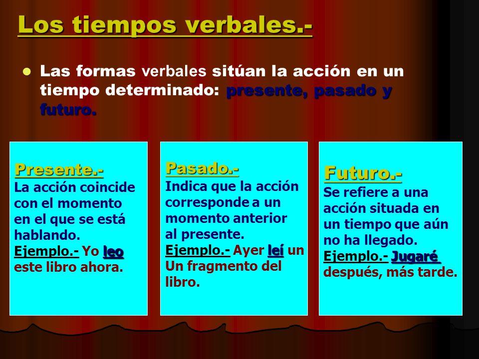 Los tiempos verbales.- presente, pasado y futuro. Las formas verbales sitúan la acción en un tiempo determinado: presente, pasado y futuro. Presente.-
