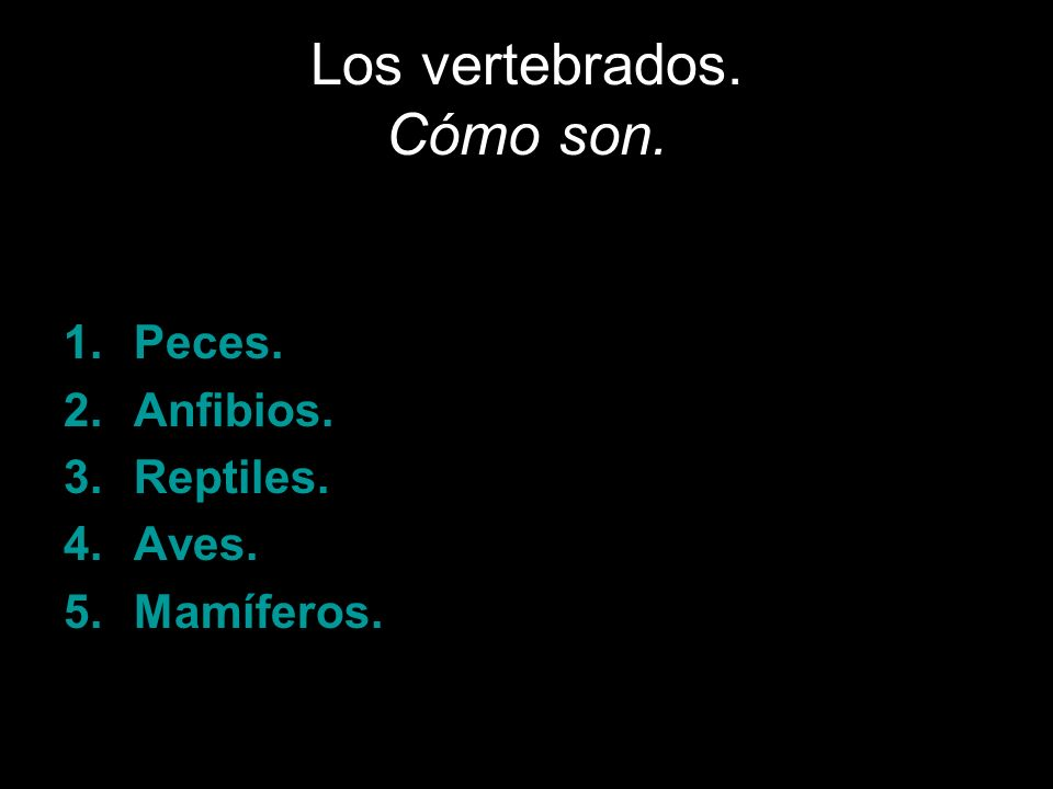 Los vertebrados se clasifican en cinco grupos: 1.Peces. 2.Anfibios. 3.Reptiles. 4.Aves. 5.Mamíferos.