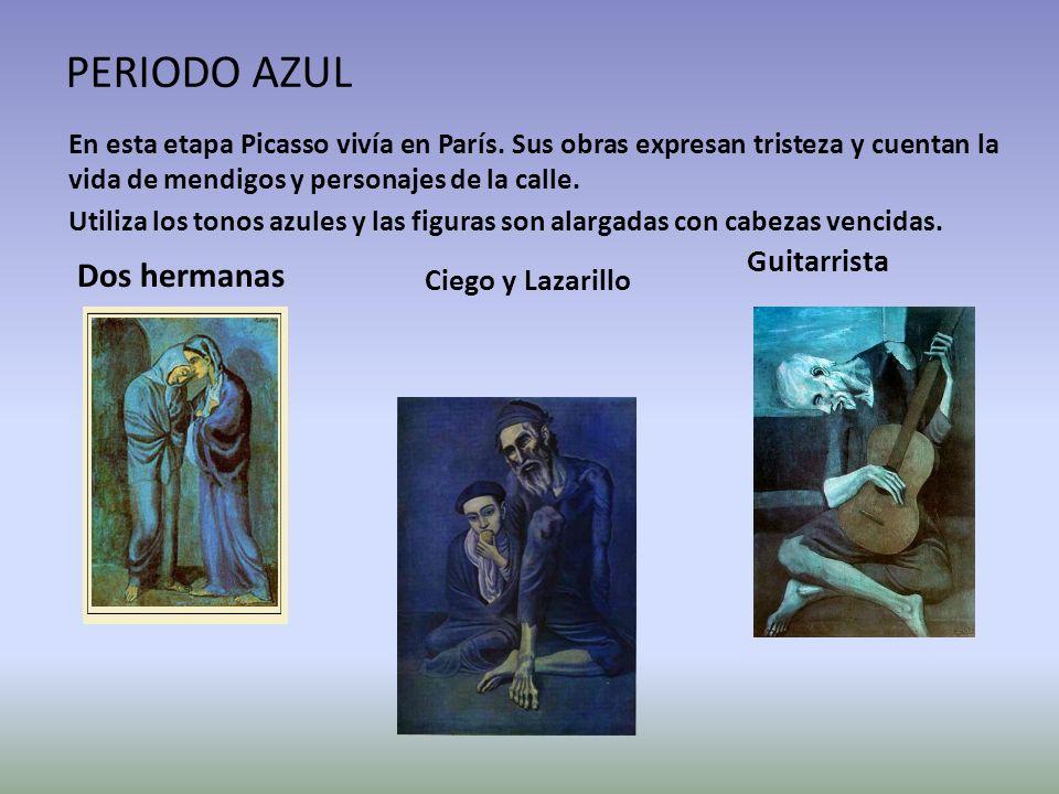 PERIODO AZUL En esta etapa Picasso vivía en París. Sus obras expresan tristeza y cuentan la vida de mendigos y personajes de la calle. Utiliza los ton