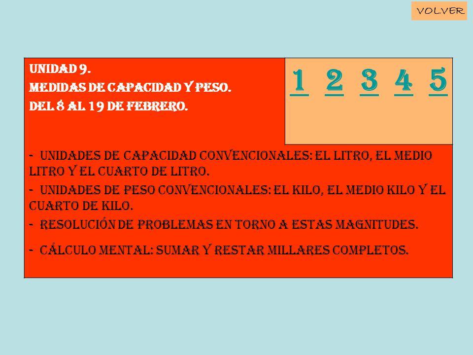 Unidad 9. MEDIDAS DE CAPACIDAD Y PESO. Del 8 al 19 de febrero. 11 2 3 4 52345 - Unidades de capacidad convencionales: el litro, el medio litro y el cu
