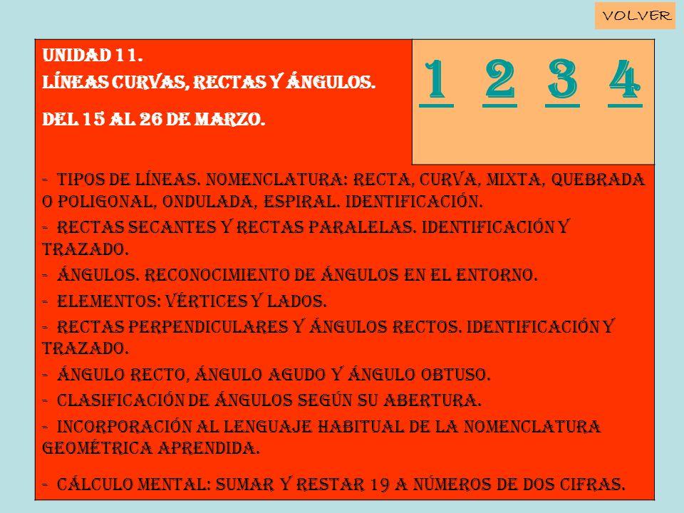 Unidad 11. LÍNEAS CURVAS, RECTAS Y ÁNGULOS. Del 15 al 26 de marzo. 11 2 3 4234 - Tipos de líneas. Nomenclatura: recta, curva, mixta, quebrada o poligo