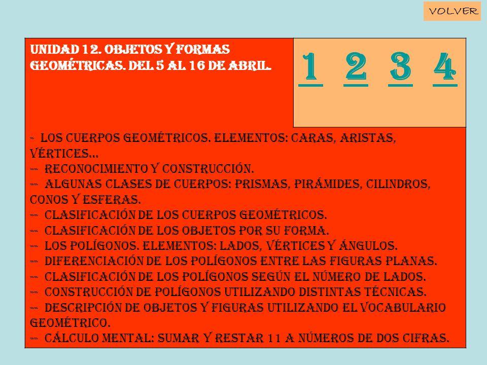 Unidad 12. OBJETOS Y FORMAS GEOMÉTRICAS. Del 5 al 16 de abril. 11 2 3 4234 - Los cuerpos geométricos. Elementos: caras, aristas, vértices… -- Reconoci
