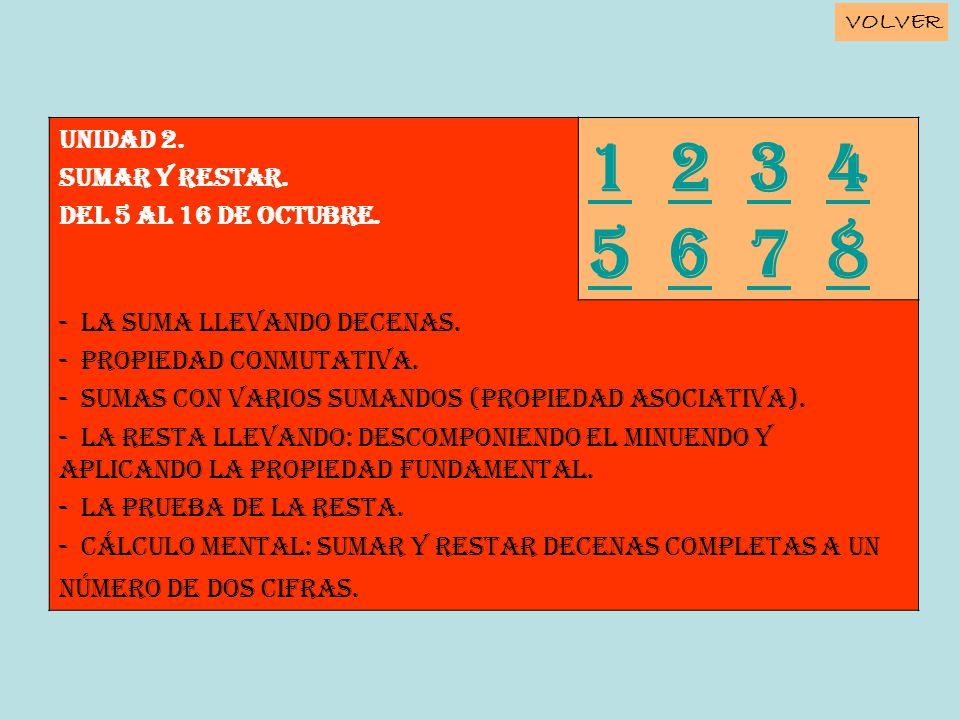 Unidad 2. SUMAR Y RESTAR. Del 5 al 16 de octubre. 11 2 3 4 5 6 7 8234 5678 - La suma llevando decenas. - Propiedad conmutativa. - Sumas con varios sum