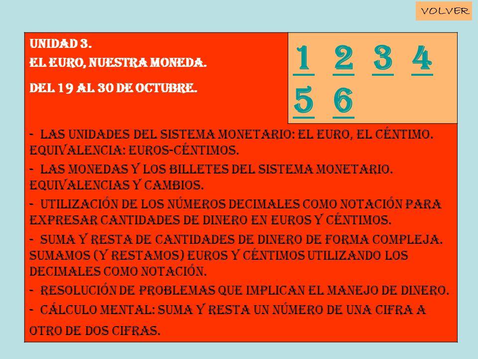 Unidad 3. EL EURO, NUESTRA MONEDA. Del 19 al 30 de octubre. 11 2 3 4 5 6234 56 - Las unidades del sistema monetario: el euro, el céntimo. Equivalencia