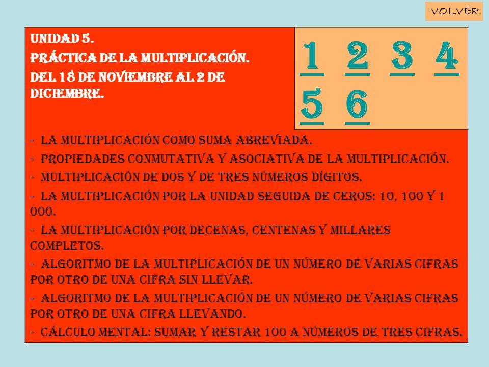 Unidad 5. PRÁCTICA DE LA MULTIPLICACIÓN. Del 18 de noviembre al 2 de diciembre. 11 2 3 4 5 6234 56 - La multiplicación como suma abreviada. - Propieda
