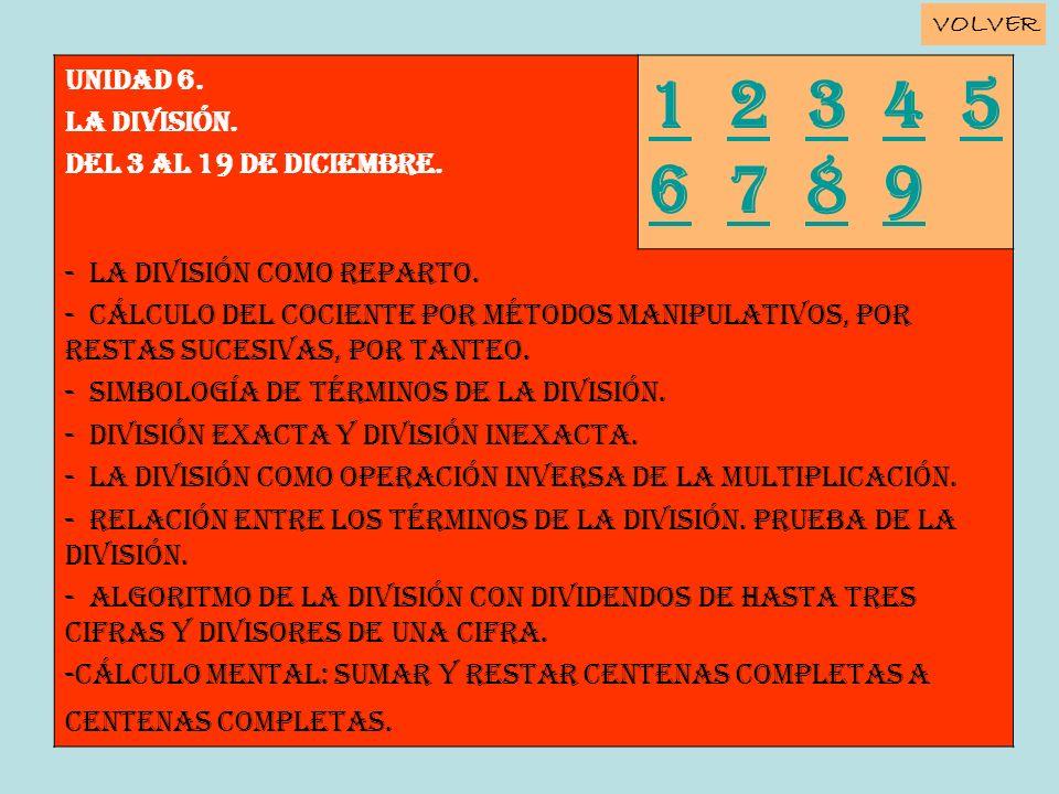Unidad 6. LA DIVISIÓN. Del 3 al 19 de diciembre. 11 2 3 4 5 6 7 8 92345 6789 - La división como reparto. - Cálculo del cociente por métodos manipulati