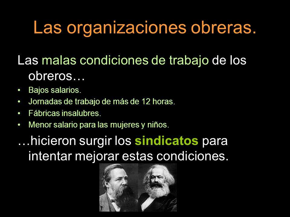 Las organizaciones obreras.Las malas condiciones de trabajo de los obreros… Bajos salarios.