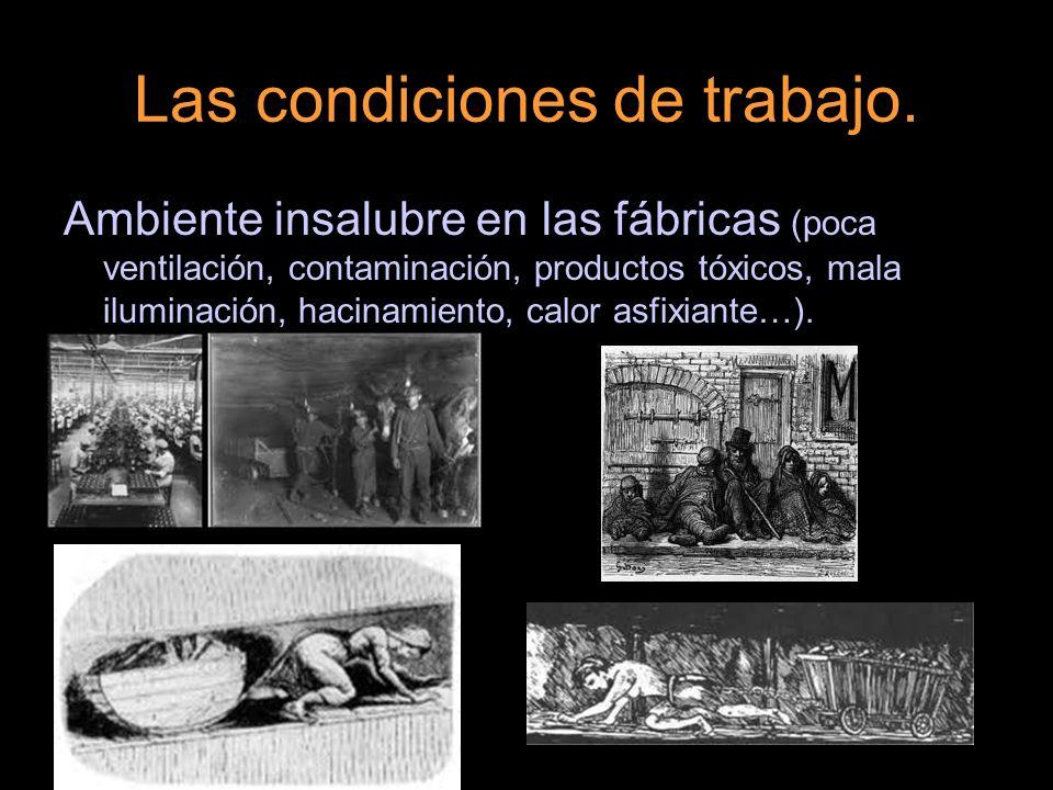 Ambiente insalubre en las fábricas (poca ventilación, contaminación, productos tóxicos, mala iluminación, hacinamiento, calor asfixiante…).