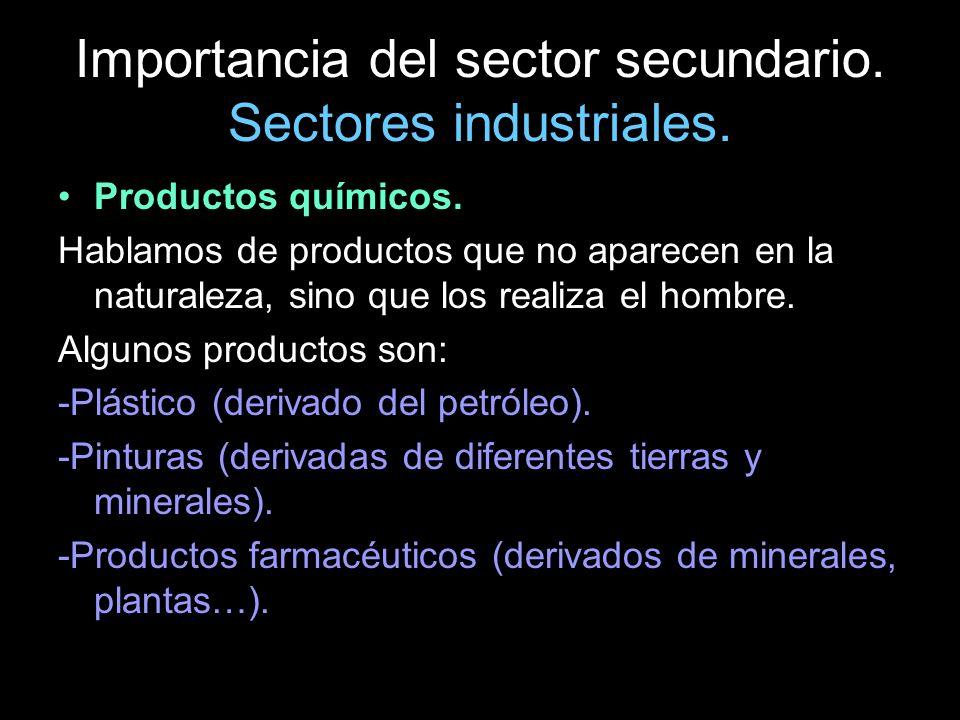Importancia del sector secundario. Sectores industriales. Productos químicos. Hablamos de productos que no aparecen en la naturaleza, sino que los rea