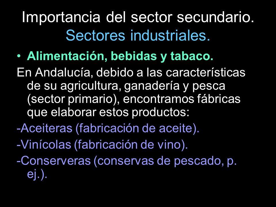 Alimentación, bebidas y tabaco. En Andalucía, debido a las características de su agricultura, ganadería y pesca (sector primario), encontramos fábrica