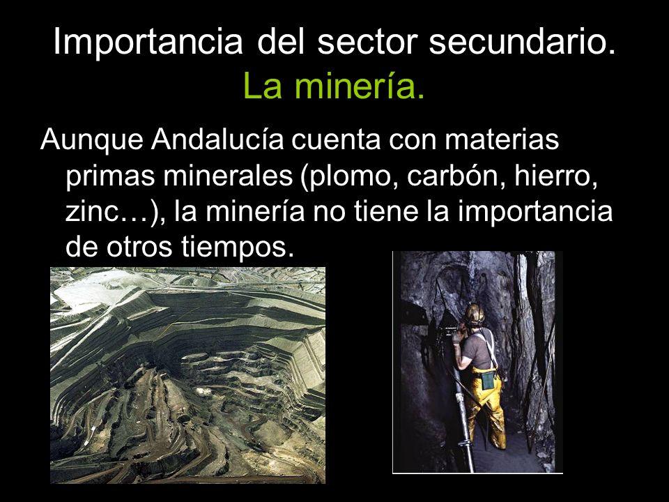 Importancia del sector secundario. La minería. Aunque Andalucía cuenta con materias primas minerales (plomo, carbón, hierro, zinc…), la minería no tie
