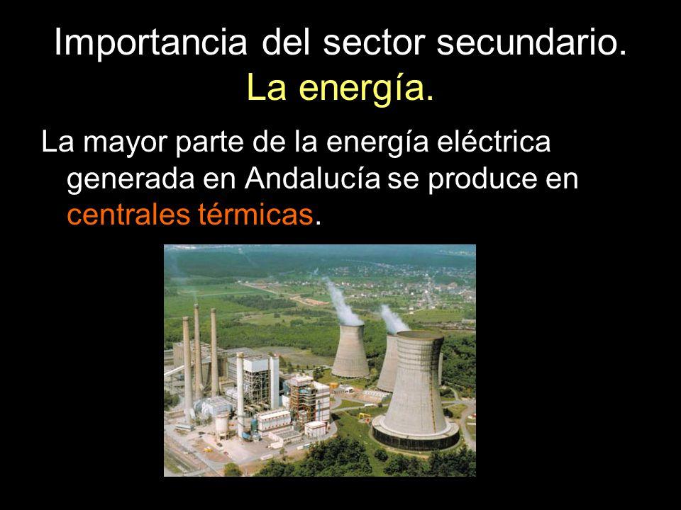 Importancia del sector secundario. La energía. La mayor parte de la energía eléctrica generada en Andalucía se produce en centrales térmicas.