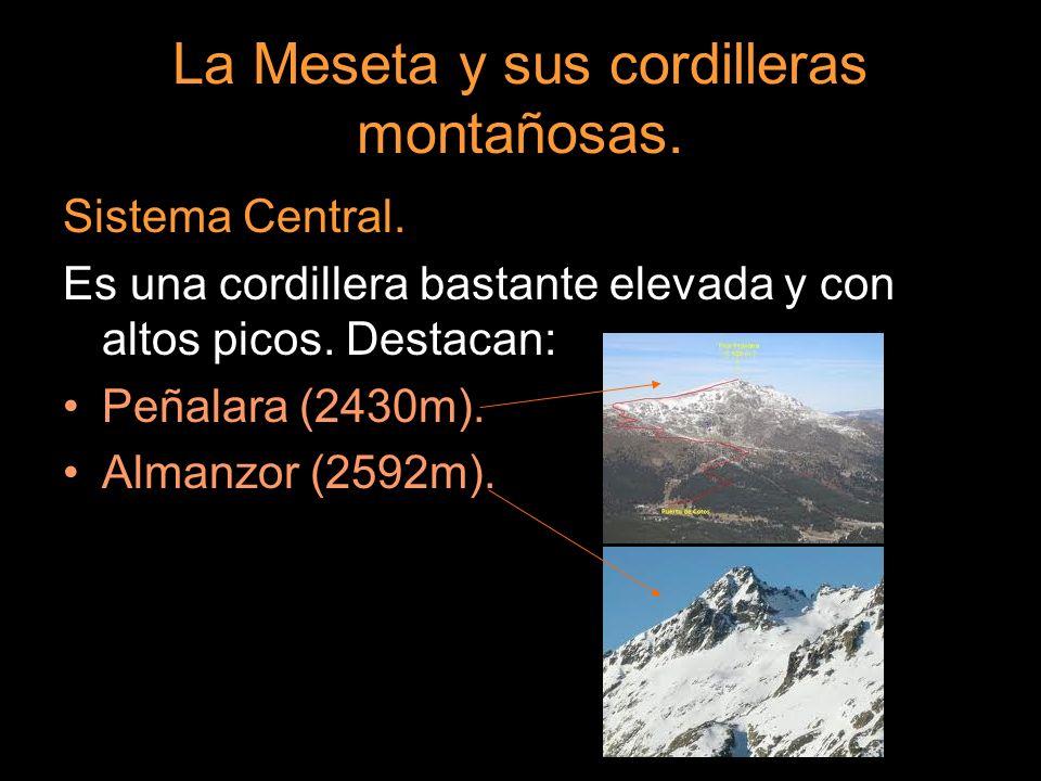 Sistema Central. Es una cordillera bastante elevada y con altos picos. Destacan: Peñalara (2430m). Almanzor (2592m).