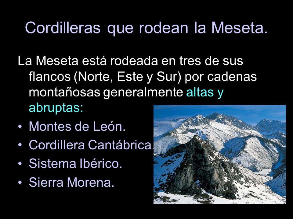 Cordilleras que rodean la Meseta. La Meseta está rodeada en tres de sus flancos (Norte, Este y Sur) por cadenas montañosas generalmente altas y abrupt