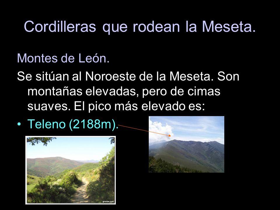 Montes de León. Se sitúan al Noroeste de la Meseta. Son montañas elevadas, pero de cimas suaves. El pico más elevado es: Teleno (2188m).