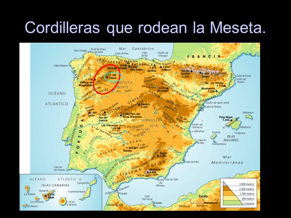 Cordilleras que rodean la Meseta.