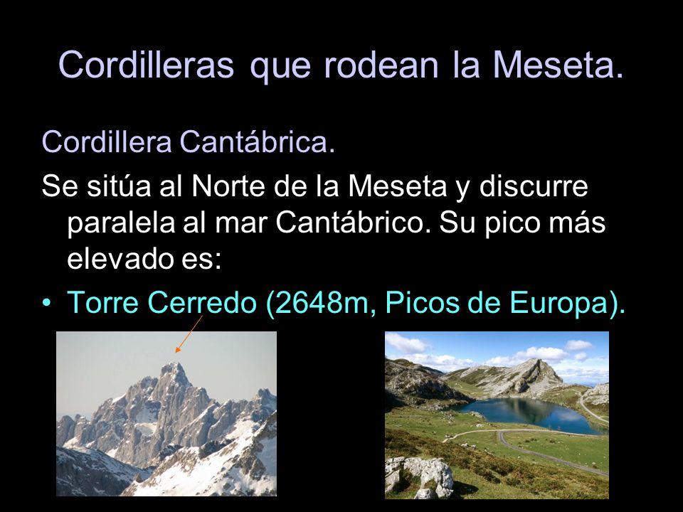 Cordillera Cantábrica. Se sitúa al Norte de la Meseta y discurre paralela al mar Cantábrico. Su pico más elevado es: Torre Cerredo (2648m, Picos de Eu