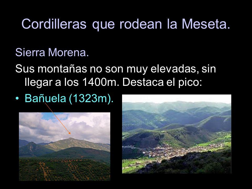 Cordilleras que rodean la Meseta. Sierra Morena. Sus montañas no son muy elevadas, sin llegar a los 1400m. Destaca el pico: Bañuela (1323m).